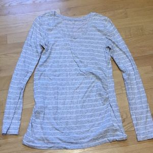GAP maternity gray and white stripe long sleeve